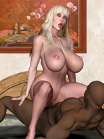 Toon ebony girl with huge boobs gets doublepentrated and facialized by two white guys.